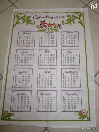 Torchon calendrier 2009 collection aisne - Torchon calendrier ...