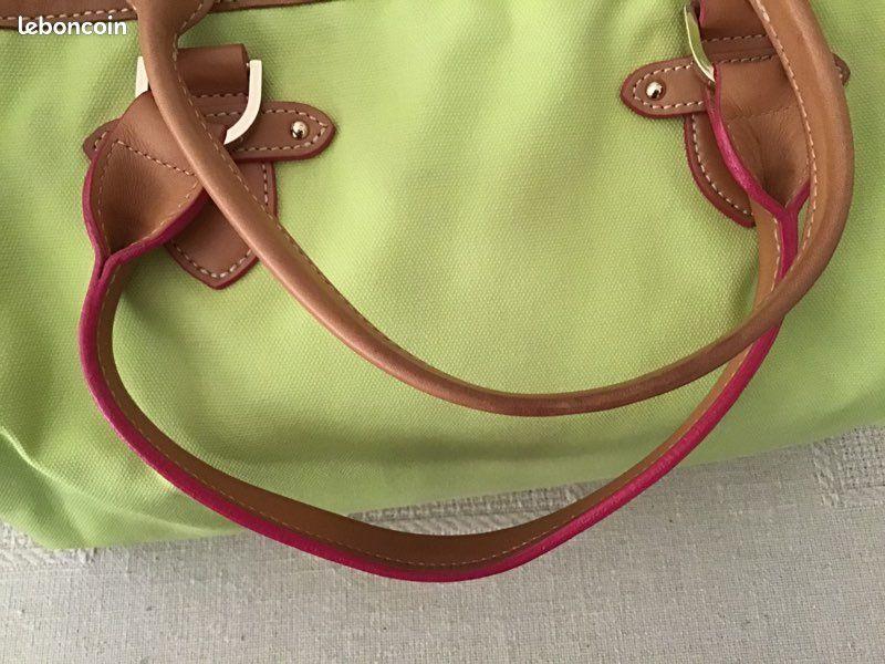 Longchamp sac à main en toile vert pale