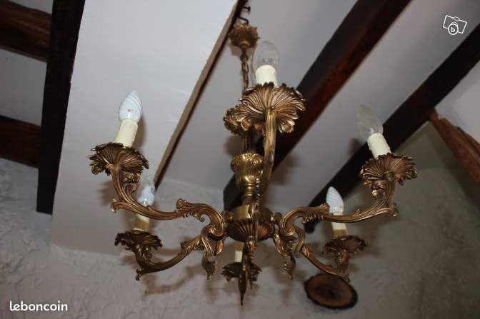 suspension lustre ancien en bronze style louis xv dcoration aisne. Black Bedroom Furniture Sets. Home Design Ideas