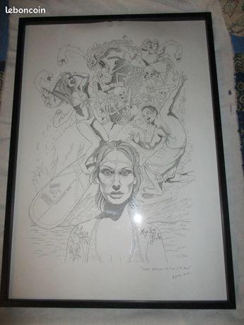 Dessin de Kosta KULUNDIC - Riedisheim - VENDS très beau drawning encadré de l'artiste français d'origine serbe Kulundic Kosta,né en 1972 oeuvre de 2014 dimensions cadre : 103 x 73 cm  - Riedisheim