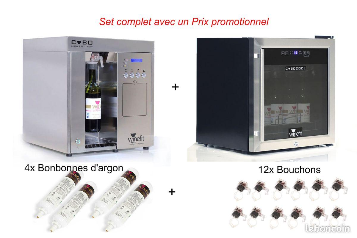 Distributeur de vin au verre winefit cubo set complet avec refrigerateur pour bouteilles de 75cl