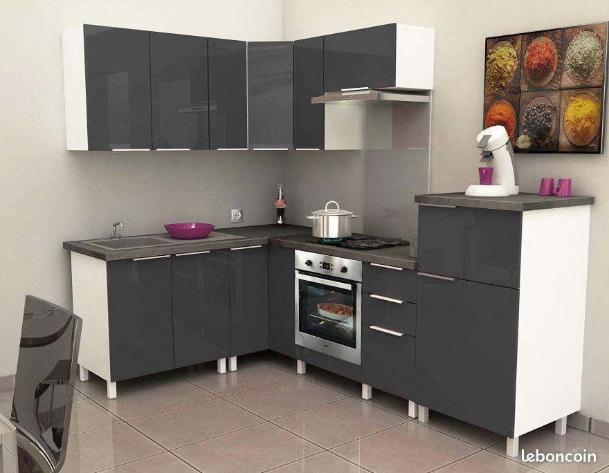 Meuble cuisine laquée moderne gris 6 éléments