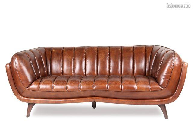 Canapé cuir Marron Vintage 3 Pl Stanfield