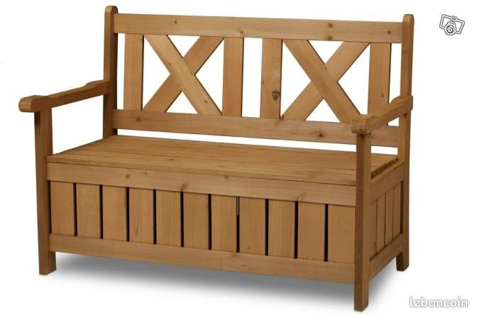 banc de jardin bois avec coffre de rangement ameublement morbihan. Black Bedroom Furniture Sets. Home Design Ideas