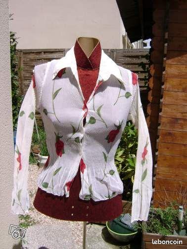 Chemisier tat neuf blanc fleur rose rouge pliss - Colissimo agence haute garonne ...