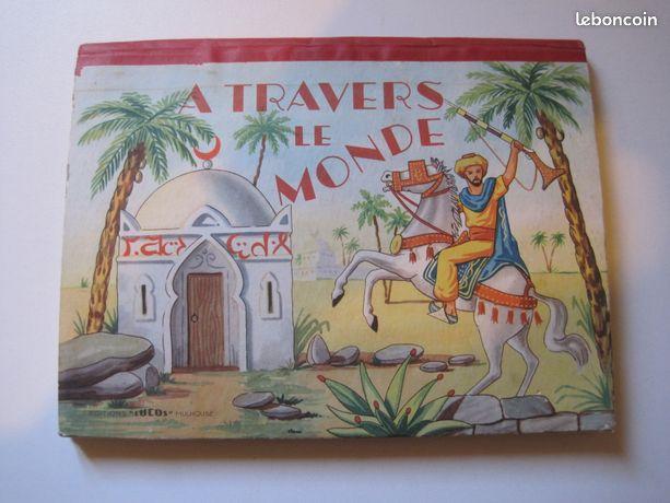 """Livre en relief """"A TRAVERS LE MONDE"""" année 1950"""