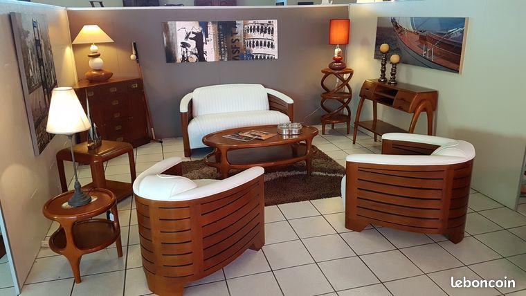 Salon club style paquebot bois et cuir blanc
