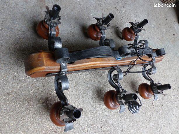 """Beau lustre suspension bois et métal style """"fer forgé"""""""