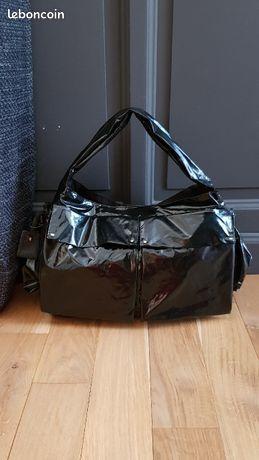 Séquoïa superbe sac fourre tout très original en toile enduite vernie noire très légère