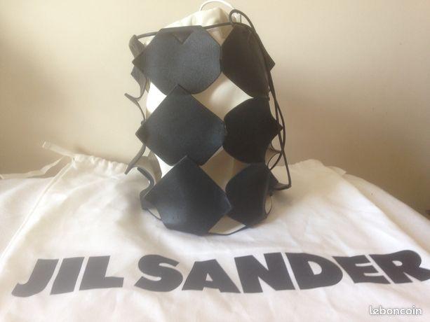 Jil Sander sac seau en toile et cuir Puzzle