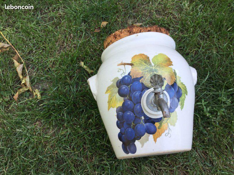 Vinaigrier vintage en grès complet avec robinet