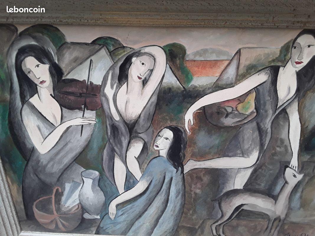 Huile sur panneau moderniste de style art deco