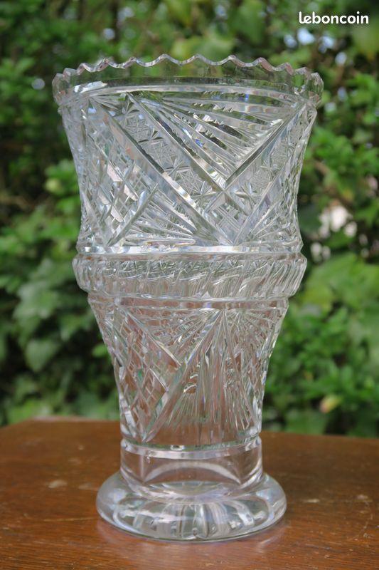 Vase cristal de bohème 21cm vintage, rétro