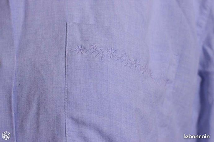 Chemisier manches courtes bleu clair ANTONELLE T3 (image 2)