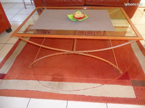 Table basse   2 sellettes en fer forgé