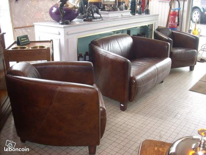 salon cuir avec 2 fauteuils club 1 canape club ameublement cher. Black Bedroom Furniture Sets. Home Design Ideas