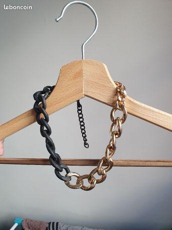 Collier chaine dorée et noire mat
