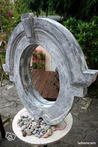 Miroir oeil de boeuf finition zinc patin d coration for Miroir oeil de boeuf