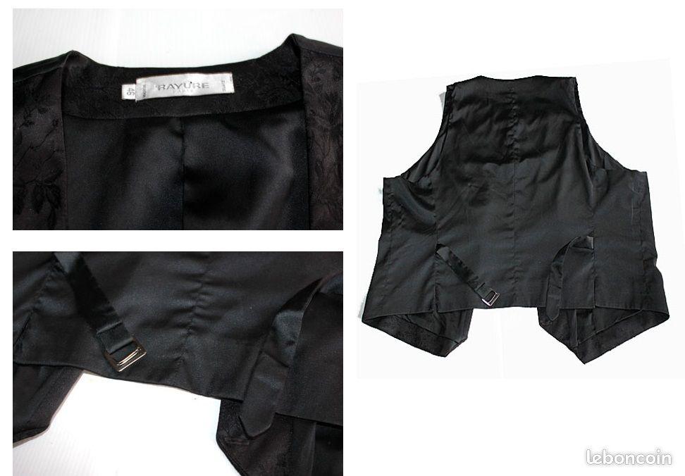 Gilet neuf pour femme grande taille 46 en satin noir luxe brodé