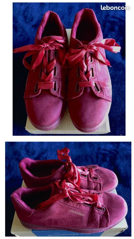 Chaussures basket rouge avec lacets ruban manoukian taille 40