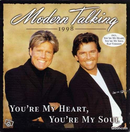 Modern Talking - You're my heart. (CD 2 titres) - Vélizy-Villacoublay - CD original 2 titres © 1998 Artiste : Modern Talking 1. You're my heart, you're my soul - Mix '98 (feat. Eric Singleton) 2. You're my heart, you're my soul - Mix '98 bon état général possibilité de remise en main propre à Vél - Vélizy-Villacoublay
