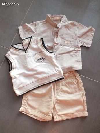 Ensemble garçon 3 mois neuf - Soultz-sous-Forêts - short + chemise + pull sans manche neuf, marque baby bol  - Soultz-sous-Forêts