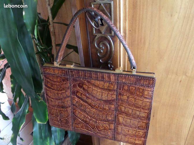 sac vintage crocodile vritable annes 70 accessoires bagagerie loire atlantique. Black Bedroom Furniture Sets. Home Design Ideas