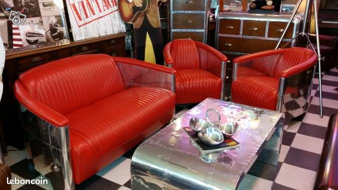 Salon 2 fauteuils club aviation cuir rouge canap for Salon canape rouge