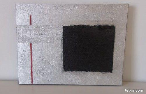 Tb etat- superbe tableau abstrait design contemporain gris argent/noir/rouge 25