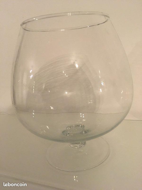 Vase verre géant cognac