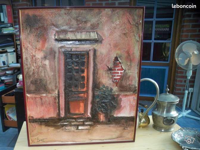 tableau peinture relief sur toile jean pierre frey d coration nord. Black Bedroom Furniture Sets. Home Design Ideas