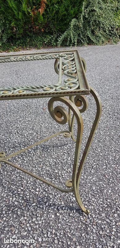Table basse années 1950 fer forgé poillerat vintage