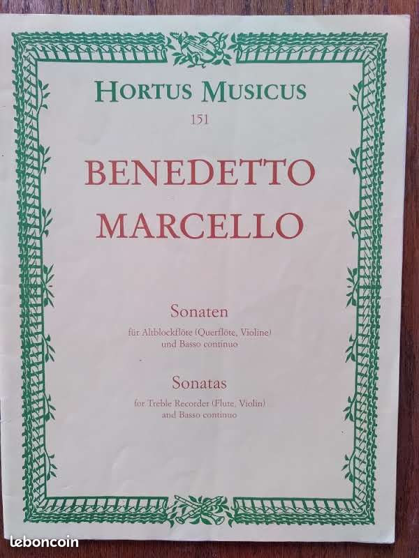 Partitions. benedetto marcello. sonata for treble alto recorder and basso continuo