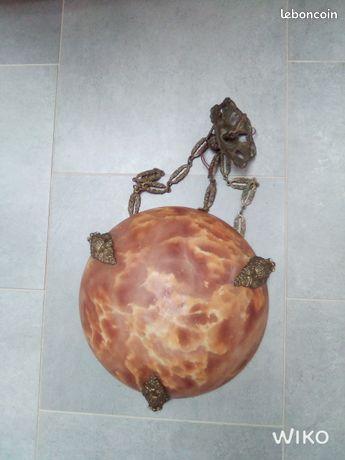 Lustre globe pâte de verre vintage