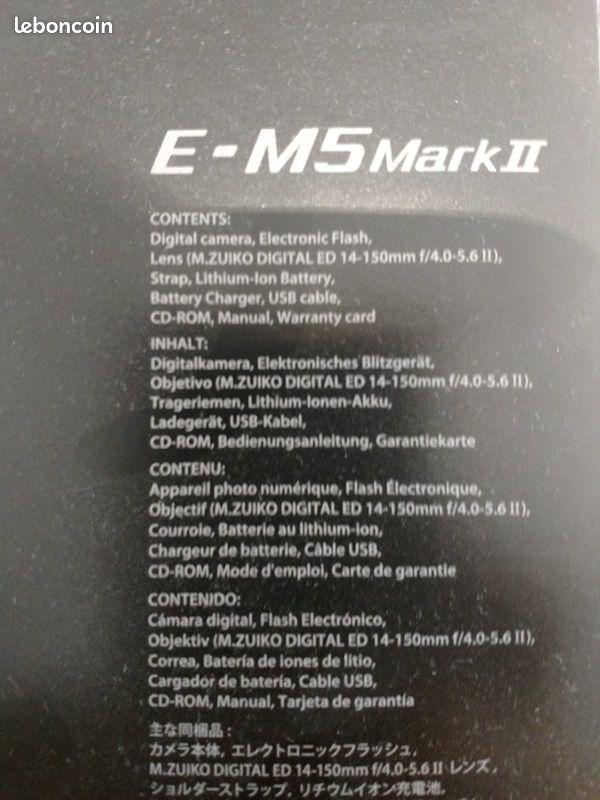 Appareil photo hybride olympus om-d e-m5 mark ll + objectif 14-150 mm ii + flash neuf + facture