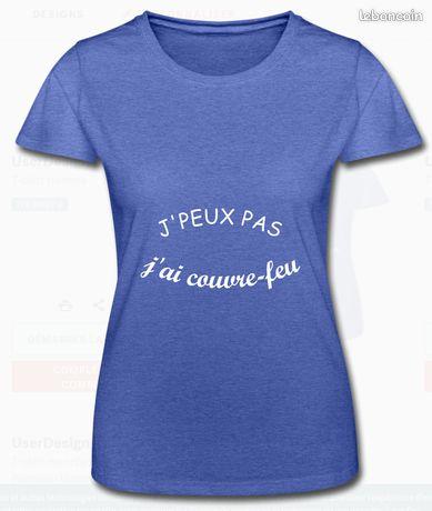 """Tee shirt femme """"J'peux pas j'ai couvre-feu"""", taille S"""