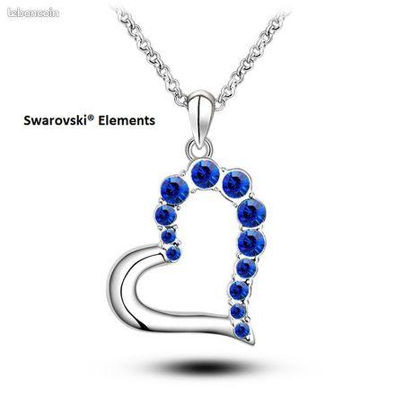 Collier pendentif coeur cristal neuf