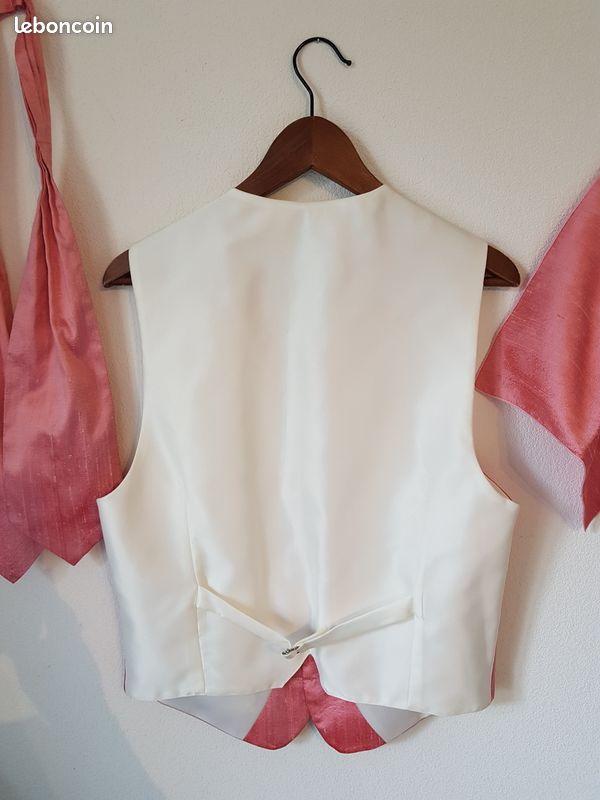 Gilet costume marié jean de sey cérémonie taille 50 soie sauvage rose mariage homme