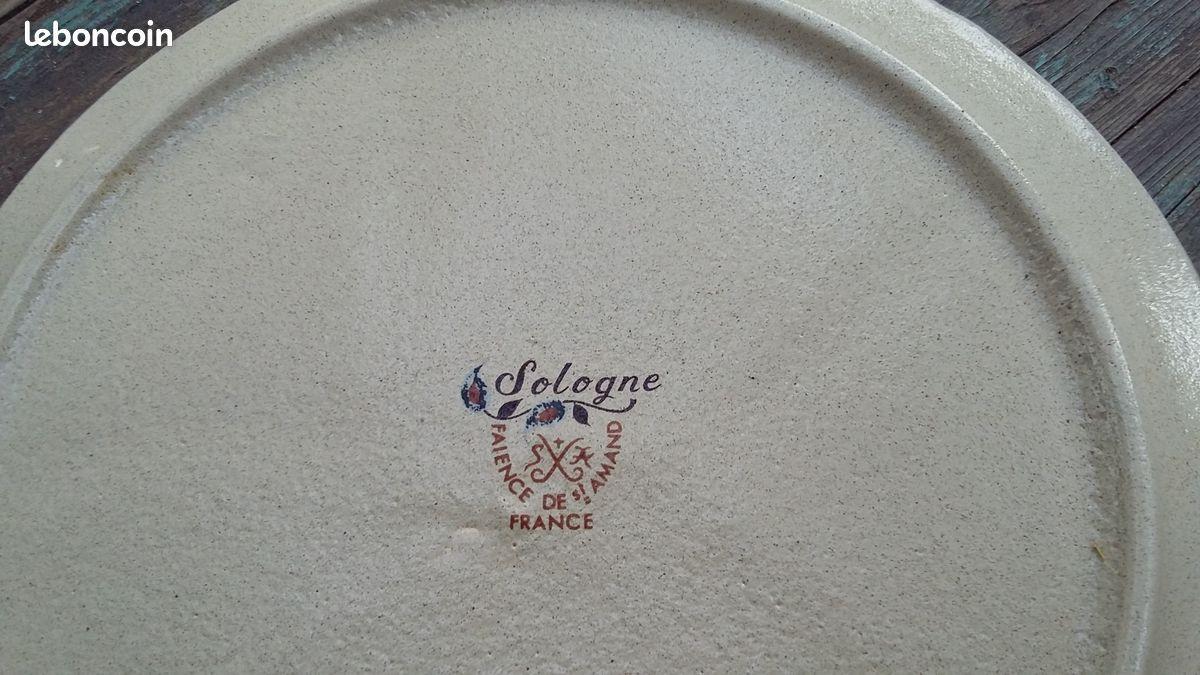 12 assiettes à fondue et son plat faïence st amand