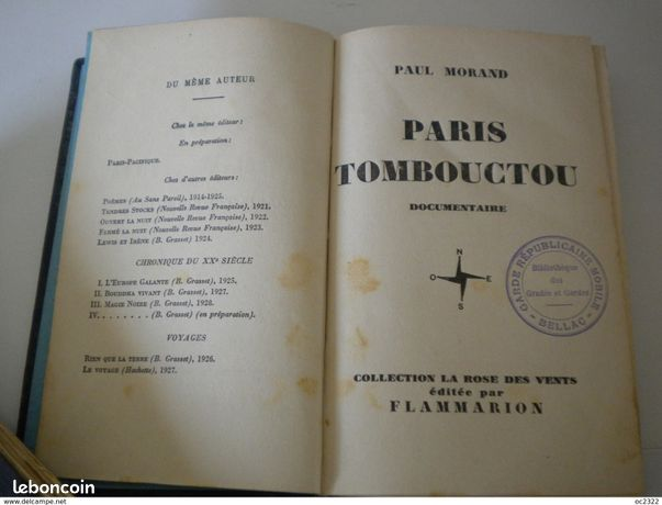 ANCIEN LIVRE DOCUMENTAIRE PAUL MORAND PARIS TOMBOUCTOU de 1928