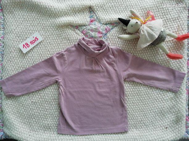 Tee-shirt manches longues col roulé violet kitchoun 18 mois cel86