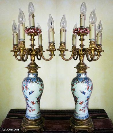 """""""Paire de vases balustre XVIIIe en porcelaine de Chine émaillée"""