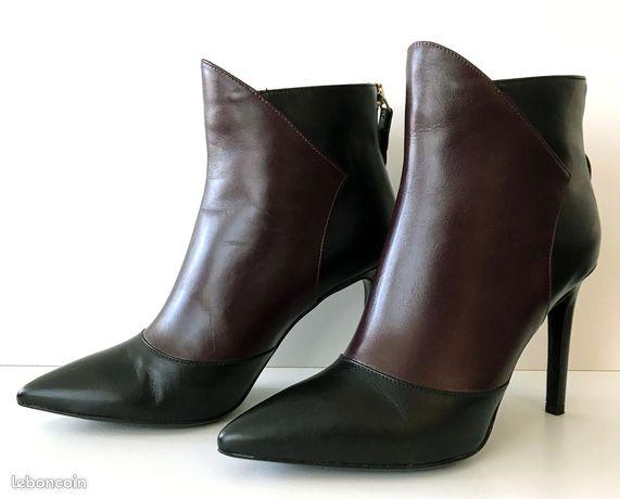 Boots Bottines femme cuir noir et prune marque Italienne REDA.MILANO Pointure 37