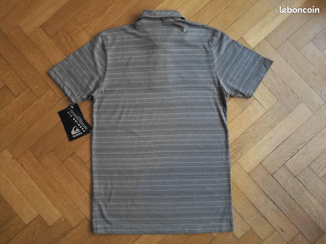 Polo quiksilver rayé gris et blanc taille s