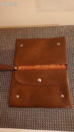 Pochette marron simili cuir années 60 vintage