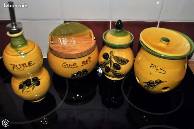 4 pots cuisine faience olive jaune style provence for Pots cuisine decoration