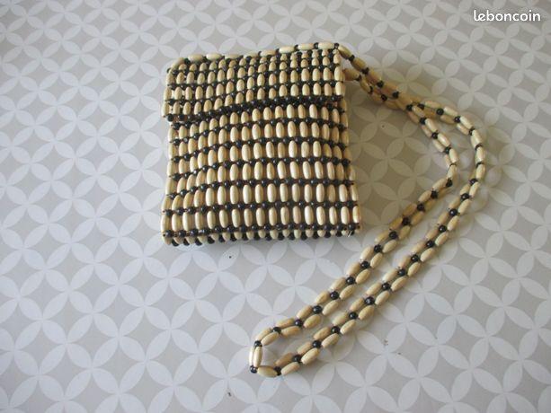 Pochette neuve perles marron et beige