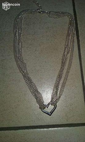 Collier coeur metal argenté