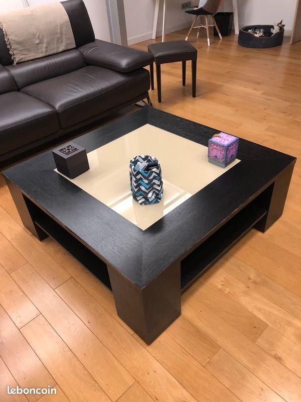 Table basse wenge et verre