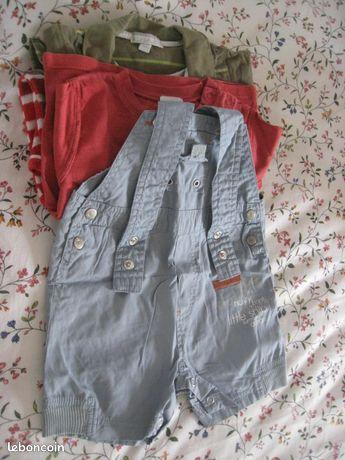 Vêtements enfants 9 mois - Gambais - Vêtements enfants taille 9 mois - 1 pygama rouge et blanc 1 pièce - 2 T-shirts manches longues : 1 uni rouge et 1 rayé vert - 1 salopette d'été grise pressionnée à l'entrejambe Tout est en excellant état Prix : 15 euros le lot  - Gambais